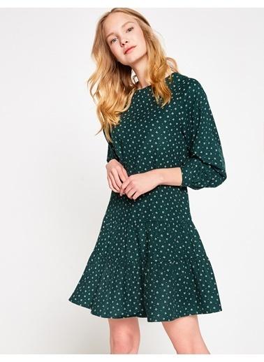 Koton Desenli Kloş Elbise Yeşil